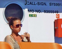 Macedonia east, Aegean sea, thoughtful girl smoking aboard the ferry to  Samothrace island,  Greece  #acedonia (bilwander) Tags: travel sea history girl ferry island boat republic great aegean smoking greece macedonia ohrid solo alexander sexygirls philip samothrace stip matka gostivar skopje macedon hellenic mavrovo prilep bitola makedonia gevgelija struga veles strumica heraclea debar kumanovo tetovo bilwander negotino  lyncestis acedonia kavadarsi macedoniatravel