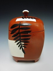 RVerrillSqLiddedJarwithPlants (hands2clay) Tags: plants square portland blackwhite ceramics redwhite rebecca handmade contemporary terracotta maine may jar pottery earthenware lidded wheelthrown verrill plantdesigns