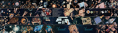 Endless Book (Dina Belenko) Tags: reflection tourism coffee cookies breakfast table star chalk drawing space betelgeuse sweets astronomy guest pastries blackboard astrology topview thehitchhikersguidetothegalaxy travelguide