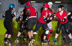 Rainier Roller Girls - Red & Black Scrimmage (Eric Von Flickr) Tags: seattle girls white women track flat skating center skaters roller athlete derby skates wftda