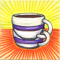 "I drew you a ""seeing double"" mug of coffee (bortwein75) Tags: food color colour art coffee illustration pen ink fun flickr drink drawing internet humor beverage double mug series oddities highlighters whiteout markers postitnote bortwein"