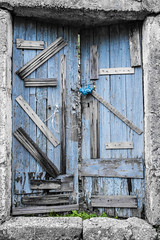 Keep Out (Rupert Brun) Tags: door wood blue autumn abandoned island greek wooden october paint village ruin flake greece repair flaking kefalonia bodge ruined farsa 2014 ionian repaired bodged peloponnisosdytikielladakeio peloponnisosdytikielladakeionio