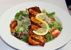 GRILLED SALMON & CAESAR SALAD (Prayitno / Thank you for (10 millions +) views) Tags: california ca old food fish restaurant town leaf cafe lemon healthy downtown salmon bistro historic lancaster grilled theboulevard theblvd konomark