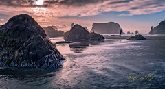 Walking Amoung the Rocks @ Sunset.jpg (Eye of G Photography) Tags: usa oregon places pacificocean northamerica bandon rockformations skyclouds