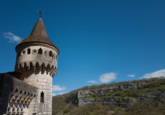 Tower above the Holy Door, Rocamadour (Frederic DIDIER) Tags: blue sky france landscape village south lot medieval bleu ciel sud rocamadour quercy