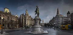 Porto rising (Pietro Faccioli) Tags: plaza city morning light sky urban panorama portugal lamp statue architecture sunrise buildings square dawn early town post cloudy liberdade porto british praa elegant equestrian neoclassical pietro faccioli pietrofaccioli