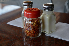 Additives (BKHagar *Kim*) Tags: red hot glass table pepper restaurant spice salt peppers spicy chilis enhancement additives bkhagar