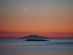 Still moon (lafur Ingi) Tags: winter sunset red sky cloud moon mountain snow cold reflection night reflections frozen iceland heaven