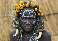 Mursi tribe woman with adornments and tribal make up, Omo valley, Mago park, Ethiopia (Eric Lafforgue) Tags: africa portrait people color fruits face horizontal outdoors women paint day african painted ivory culture makeup jewelry tribal headshot bodypaint ornament ornaments omovalley earrings bodypainting tradition ethiopia tribe mursi oneperson jewel garnish decorated tusk hornofafrica ethiopian eastafrica abyssinia realpeople adornments lookingatcamera africanethnicity 1people mursitribe animalteeth hippoteeth murzu magopark enlargedearlobe enlargedear ethio162215