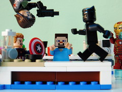 Cooking with Steve: Civil war edition (kelko585) Tags: lego super heroes minifigure minifig minecraft cooking with steve captain america black panther ironman winter soldier