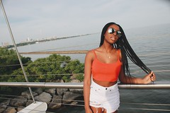 (cassandra.frater) Tags: bridge summer toronto cute water girl sunglasses fashion pretty cntower views lakeshore boardwalk blackout blackgirl blackgirls blackqueen melanin ootd tumblr boxbraids