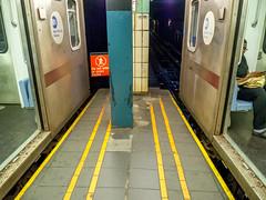 Wall St Station (Anthony's Olympus Adventures) Tags: newyorkcity newyork newyorkny newyorksubway subway train railway underground wallstreet station narrow platform trainstation railcar carriage manhattan