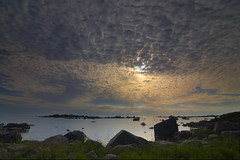 Oura (MilaMai) Tags: landscape sunset midsummer finland suomi sea seascape clouds cloudformation sunray rays ray rocks beach beautiful nature island oura pori saaristo milamai maijuleena grass amazing sky light outdoor juhannus bothniansea merikarvia ouranluoto nationalpark geotagged finnish maisema rocky ground outcrop dramaticsky dramaticclouds bigclouds pattern