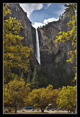 Bridalveil Fall (K-Burn) Tags: california trees mountains waterfall valley yosemitevalley mariposacounty