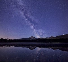 4 frame vertirama (John Andersen (JPAndersen images)) Tags: blue sky panorama moon lake mountains night clouds reflections stars kananaskis colours alberta stump elbowfalls elbowriver forgetmenotpond