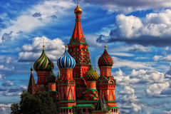 The colourful Saint Basil's Cathedral in Red Square (Sudhakar Photography) Tags: blue red sky green colors beautiful beauty saint architecture fairytale clouds canon eos amazing colorful cathedral symbol russia moscow vibrant vivid bluesky basil colourful redsquare popular orthodox breathtaking exceptional placetovisit