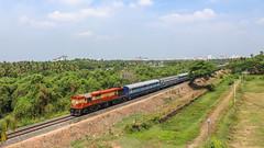 Kannur-Alleppey express (Akhil Sanjeev) Tags: railroad train outdoor rail kerala vehicle locomotive cochin overhead trainspotting ers alco indianrailways railfanning wdg3a nettoor tirunettur
