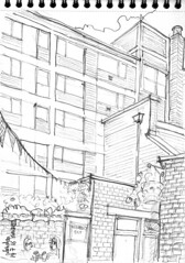 Londres, la cour derrire le pub (Croctoo) Tags: london croquis croctoo crayon croctoofr pub