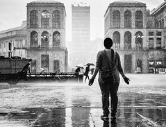 Rain Spirit (Petricor Photography) Tags: street blackandwhite white black milan rain photography candid milano and canonpersonalconnection