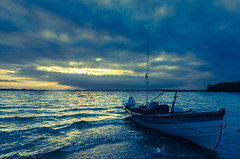 Row for the shore (qgrainne) Tags: autumn ireland light sunset lake evening boat fishing lough cross fishingboat processed dockbay ennell