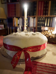 Christmas cake (James E. Petts) Tags: christmas food cake baking candle icing ribbon candlelight merrychristmas fruitcake decorated royalicing
