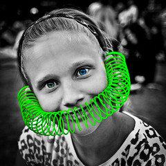 Sofia goes green (madmtbmax) Tags: portrait people bw green eye girl monochrome look copenhagen tivoli eyes funny schwarzweiss coloured monochromecolour blackandwhitesw