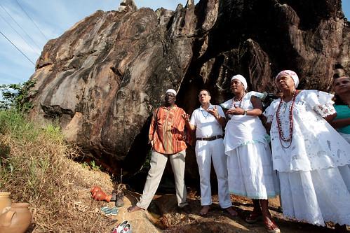 Representantes de terreiros na Pedra de Xangô