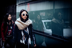 Parallel Universe - [Seen in Explore!] (McLovin 2.0) Tags: street city girls friends portrait people urban reflection beauty sunglasses fashion zeiss scarf mirror candid sony streetphotography style melbourne explore 55mm explored a7s