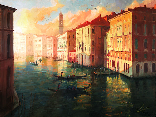 Venice,-Italy-–-the-Grand-Canal-at-Sunset