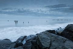 Horizons (jellyfire) Tags: sea beach water sunrise landscape dawn coast rocks general norfolk bluehour happisburgh carlzeiss distagont3518 zeissdistagont18mmf35ze