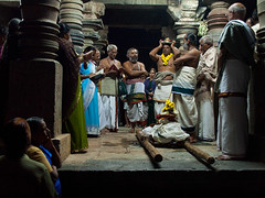 Temple celebration (Evgeni Zotov) Tags: people india holiday night dark temple worship god prayer religion pray read celebration idol indie karnataka hindu indi hinduism celebrate indien belur inde  hindistan hoysala   ndia   chennakesava