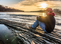 Back Home Again (K.M. Smith Photography) Tags: trees sunset ohio selfportrait water rock clouds canon river limestone maumee maumeeriver sidecutmetropark toledometroparks kmsmith