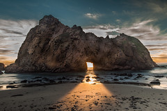 Enlightenment (East Wind) Tags: california sunset seascape beach rock bigsur keyhole pfeifferbeach keyholerock