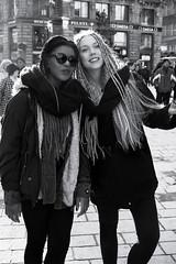 Street in Vienna - 14 (PIXXELGAMES - Robert Krenker) Tags: vienna street girls portrait blackandwhite white black sexy monochrome fashion glasses retrato streetphotography lifestyle streetlife fujifilm 1855 schwarzweiss portret sexygirls fujinon plaits longhairs twogirls plait darkglasses younggirls xt1 fujirobxt1