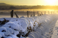 Sunrise on the lane. (sidibousaid60) Tags: uk winter orange mist snow cold sunrise buxton derbyshire fairfield tonguelane