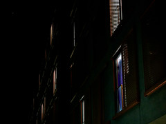 Some are Home and Some are not (kle.tobias) Tags: winter light orange house black green night composition munich perspective shutters handheld