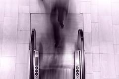 Elevator (theblueraindrop) Tags: street longexposure people bw train underground person blurry metro stockholm elevator rush hurry stress longshutter