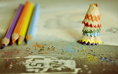 dance with colours (Ayeshadows) Tags: life blue red orange white green tower beauty yellow pencils grey dance paint colours with purple live alive sharpeners wavey frills