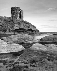 Lady's Tower, Elie (spodzone) Tags: light blackandwhite sunlight building tower art nature monochrome composition manipulated lens landscape photography scotland emotion unitedkingdom fife places rules calm equipment filter zen vista simple toned contrasts rugged lump elie contentment lightanddark elegance shapely gbr sidelit delusionsofgrandeur nearfar rockwater tonemapped landwater skyearth shapeandform rawconversion intimatelandscape ladystowerelie rawtherapee darktable digitalorange olympus1260mmf28 mankindnature digitalgradnd digitallowpass timefulness nearmidfardistance
