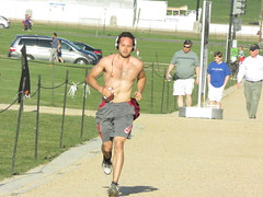 IMG_0728 (FOTOSinDC) Tags: shirtless hairy man muscles back arms arm legs candid chest leg handsome running sweaty sweat guns jogging runner jogger