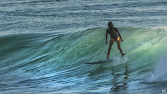 Surfing Burleigh #339 (BAN - photography) Tags: ocean reflection surfer wave surfboard wetsuit d500 burleigh surfergirl
