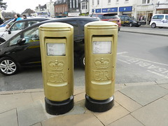 Golden Postboxes, Stratford Upon Avon, tribute to James Roe, Gold Medalist, Rowing Mixed Coxed Four, London Paralympic Games 2012 (allanmaciver) Tags: london four gold james golden mail central royal games medal postbox rowing tribute warwick won avon roe stratford 2012 paralympic coxed allanmaciver