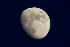 Waxing Gibbous Moon (DaveJC90) Tags: camera blue light shadow sky moon colour detail night digital dark lens evening spring nikon colours bright zoom super sharp craters crater crop round half planet coolpix phase gibbous oval waxing complete croped sharpness 450mm s9100