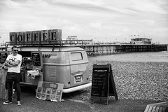 Coffee for sale (Adeypoos) Tags: street sea sky people bw coffee vw volkswagen coast pier worthing waves background streetphotography seafront englishchannel canoneos6d coffeecamp adrianpollardphotography