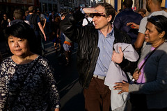 Oxford Circus (Gary Kinsman) Tags: light white london sunglasses shopping evening eyecontact bright candid crowd streetphotography streetlife visible seen oxfordstreet w1 westend consumerism oxfordcircus lateafternoon 2016 fujifilmx100t fujix100t