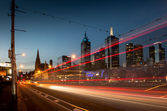 Trams going in and out of the city (Leanne Cole) Tags: longexposure lights cityscape photographer photos australia melbourne images victoria environment lighttrails trams stkildaroad fineartphotography princesbridge environmentalphotography fineartphotographer nikond800 environmentalphotographer leannecole leannecolephotography