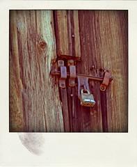 padlocked latch (Leo Reynolds) Tags: xleol30x poladroid polaroid faux fauxpolaroid fake fakepolaroid phoney phoneypolaroid route66 xxx2016xxx