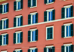 Windows in Genoa (Dave Denby) Tags: windows genoa italy italia house building shutters orange