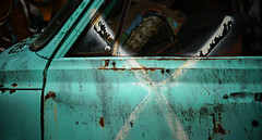 trauma in turquoise (jtr27) Tags: dsc03121e jtr27 sony alpha alpha7 a7 ilce7 ilce csc mirrorless canon fd fdn nfd 100mm f28 manualfocus maine junkyard newengland pickup