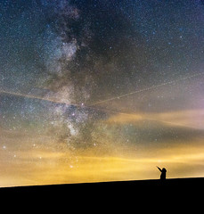 How small we are (G_Howold) Tags: milkyway stars night self portrait dark nature universe galaxy germany wasserkuppe rhön milchstrasse long exposure clouds astro canon colours 20d landscape beautiful milchstrase travel outdoor